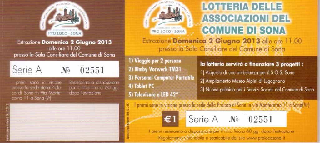 Biglietto Lotteria Associazioni